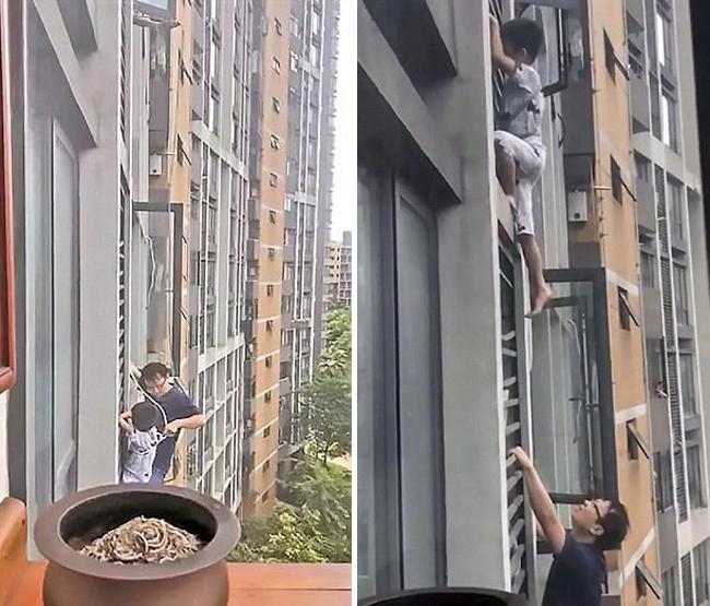 Ông bố tay không trèo ra ngoài cửa sổ tầng 7 để cứu con - 2