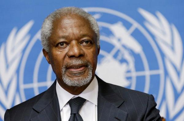 Ông Kofi Annan phát biểu trong một buổi họp báo tại trụ sở Liên Hợp Quốc ở thành phố Geneva, Thụy Sĩ, hôm 2/8/2012. Ảnh: Reuters.