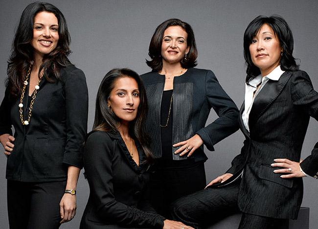 Bốn nữ doanh nhân quyền lực nhất tại thung lũng công nghệ Silicon (Từ trái sang) : Gina Bianchini, CEO củaNing, Sukhinder Singhsáng lập Joyus (Google), Sheryl Sandberg, COO củaFacebook và Theresia Gouw quản lý quỹ đầu tư mạo hiểm Aspect. Ảnh: Fortune.