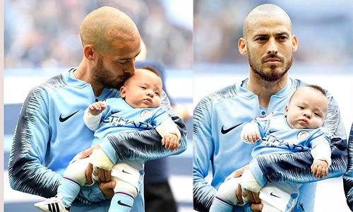 David Silva đưa con trai sinh non ra sân đấu