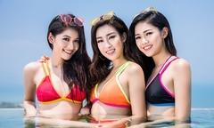 Mỹ Linh, Thanh Tú, Thùy Dung đọ dáng với bikini ở hồ bơi dát vàng