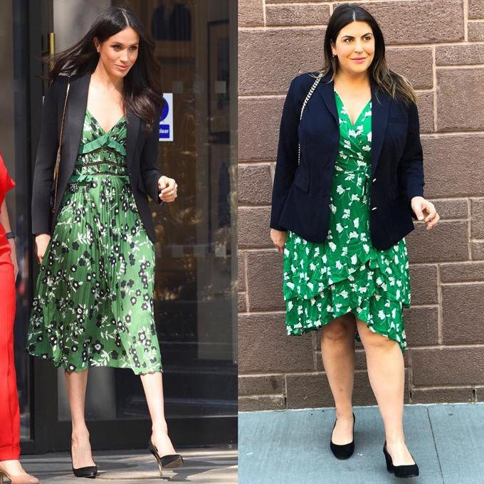 Thay vì chọn đầm midi dập ly như Nữ công tước xứ Sussex, chủ nhân blog The 12ish Style khéo léo chuyển sang váy ngắn ngang gối nhằm tránh bị phân khúc đôi chân.