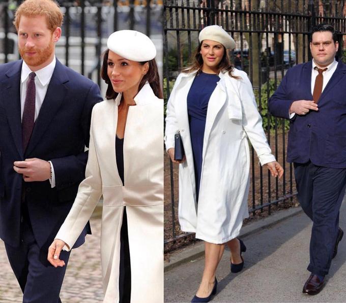 Katie thậm chí còn cùng một người bạn sắm vai vợ chồng Harry - Meghan với trang phục tương tự.