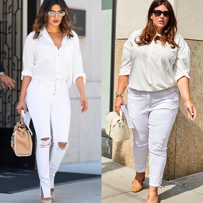 Diện cây trắng giống Hoa hậu Thế giới 2000 Priyanka Chopra, Katie tự tin chia sẻ: Tôi đã nhiều lần nghe những cô gái ngoại cỡ nói rằng họ nghĩ họ không thể mặc đẹp quần skinny trắng. Tôi hy vọng khi nhìn cả hai chúng tôi đều trông rất ổn trong ảnh này, các bạn sẽ cho mình cơ hội thử nghiệm điều mới mẻ.