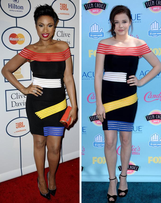 Nhờ kết quả giảm cân đáng kinh ngạc, ca sĩ Jennifer Hudson (trái) trông còn gợi cảm hơn  diễn viên 21 tuổi Chloe Moretz trong thiết kế ôm sát này.