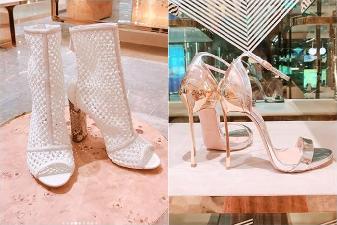 Hàng loạt đôi giày hiệu kiểu dáng đa dạng đều được Ngọc Trinh vung tiền sở hữu.