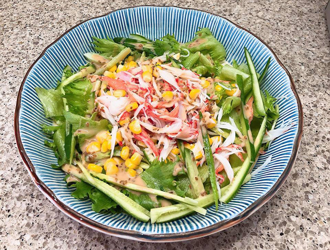 Crab Stick Salad with sesame dressing, my son loves it. What a Yay for me