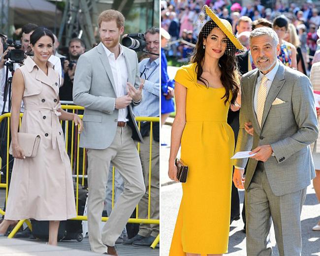 Vợ chồng Hoàng tử Harry và vợ chồng tài tử Clooney đềulà những ngườibạn thân. Vợ chồng Clooney xuất hiện nổi bật tại đám cưới của vợ chồng Hoàng tử Harry hôm 19/5 (bìa phải). Ảnh: UK Press.