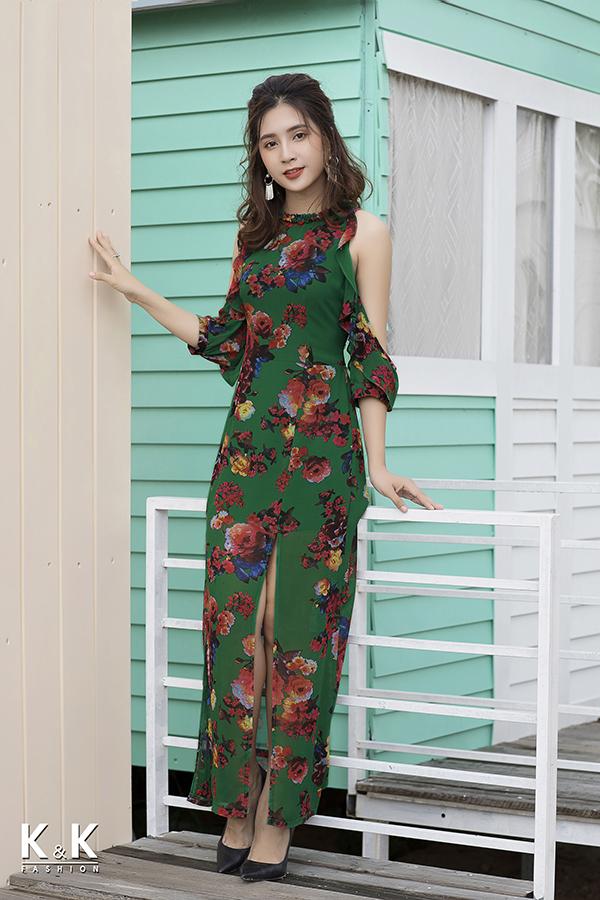 Đầm maxi họa tiết hoa nổi bật KK76-36 giá 460.000 đồng.