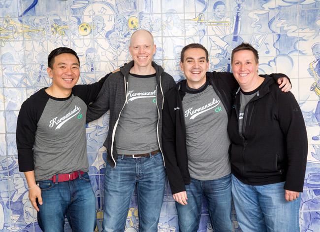 Từ phải sang trái: NicholeMustard,CTORyan GracianoCMO Greg Lull vàCEO Ken Lin của Credit Karma. Ảnh: Business Insider.