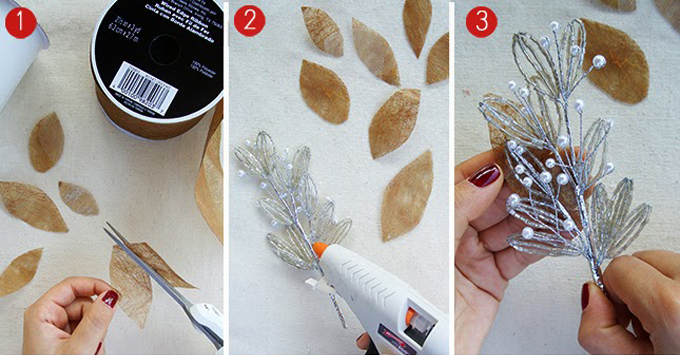 Đầu tiên, bạn cắt ruy băng thành hình chiếc lá. Sau đó dùng súng bắnkeo lên mặt sau củađoạn cườm trang trí và dán ruy băng vào.