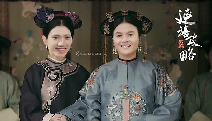 Đoàn Văn Hậu và Quang Hải ngây thơ khi hóa thân thành những cung nữ.