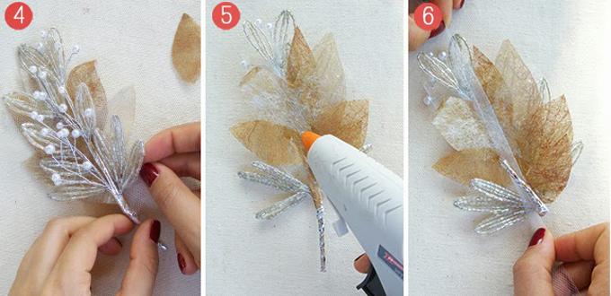 Bạn dùng tay căn chỉnh và xếp lớp những chiếc lá cây từ ruy băng lên mặt sau đoạn cườm. Dùng súng bắn keo để cố định vị trí ruy băng. Bạn đo độ dài vải tuyn vừa với vòng đầu của mình và thêm một đoạn thừađể tạo nút buộc.Cuối cùng, bạn cắt vải tuyn,đínhvào mặt sau của đoạn cườm.
