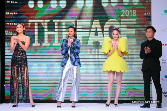 Host Nam Trung cùng 3 vị huấn luyện viên trong buổi giới thiệu chương trình The Face năm 2018.