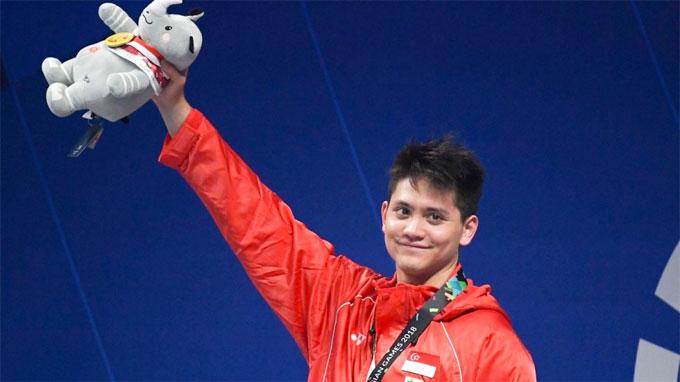 Schooling giành HC vàng đầu tiên ở Asiad 2018. Ảnh: AP.