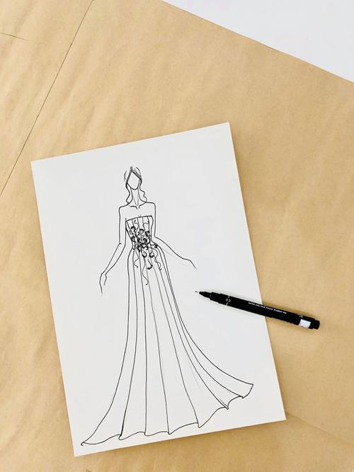 Bản vẽ thiết kế chiếc váy lụa Italy.