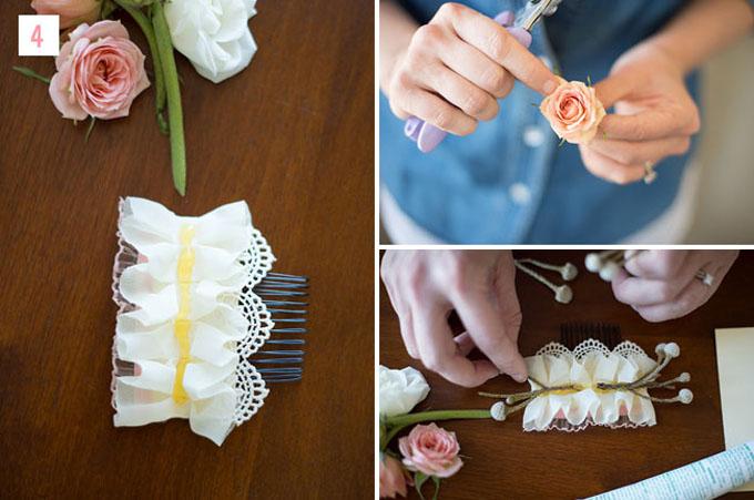 Bước 4: Bạn xếpmột vài nụ hoa giả lên lược và cố định chúngbằng súng bắn keo.Mẹo nhỏ dành cho bạn là nên xếp một ít hoa vào lược trước khi gắn keo để hình dung trước về cách gắn hoa.