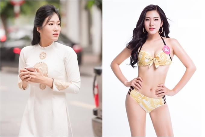 Nguyễn Hoài Phương Anh là Hoa khôi Học viện Báo chí và Tuyên truyền 2018. Cô cao 1,75m, số đo 87-66-98.