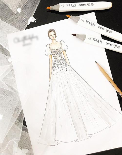 Bức vẽ phác thảo thiết kế váy đính hôn của Nhã Phương.
