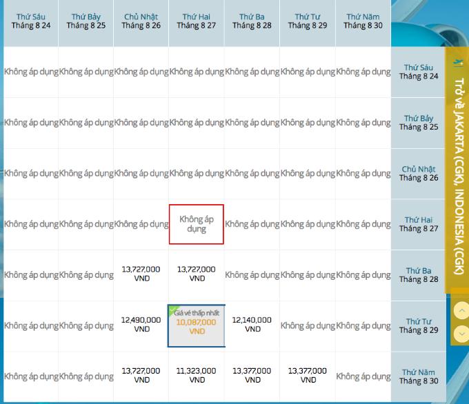 Giá vé Hà Nội - Jarkata vừa được cập nhật.