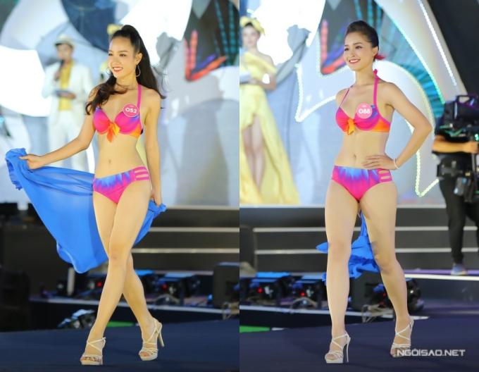 Thí sinh Hồng Tuyết (trái) sở hữu vòng eo 55cm - nhỏ nhất cuộc thi. Người đẹp Khánh Linh có mái tóc dài nhất - 1,4m.