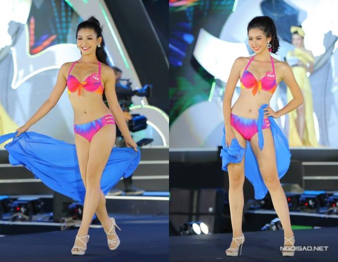 Thí sinh Lê Thanh Tú (trái) và Phạm Ngọc Linh trình diễn bikini cuốn hút.