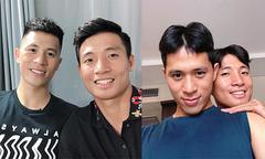 Bùi Tiến Dũng để tóc đôi, tạo dáng tình cảm bên Đình Trọng
