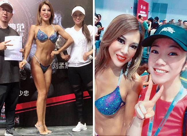 Người phụ nữ 47 tuổi xếp thứ 5 trong một cuộc thi thể hình tổ chức ở Thượng Hải hồi đầu tháng 8. Ảnh: NVCC.