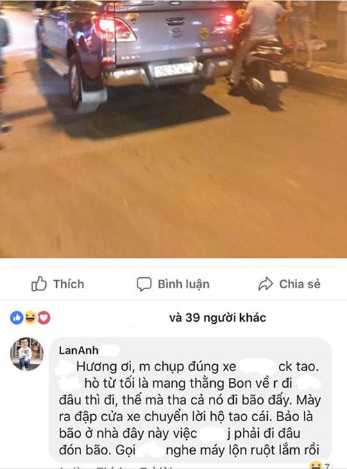 Chị Lan Anh phát hiện chồng dắt con trốn nhà đi bão nhờ tấm ảnh người bạn đăng lên mạng xã hội.