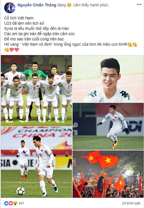 Danh hài Chiến Thắng làm thơ chúc mừng U23 Việt Nam.