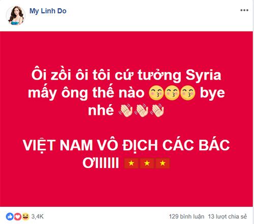Hoa hậu Đỗ Mỹ Linh hạnh phúc vì Việt Nam vô địch.
