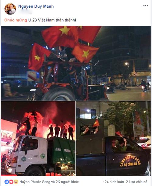 Duy Mạnh đăng tải hình ảnh ăn mừng độc đáo của CĐV Việt Nam và gửi lời chúc đến đội bóng thần thánh.