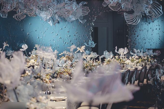 Không gian tiệc cưới cổ tích của Trương Hinh Dư giống như là một không gian nghệ thuật với những dải dây leo, hoa trắng.
