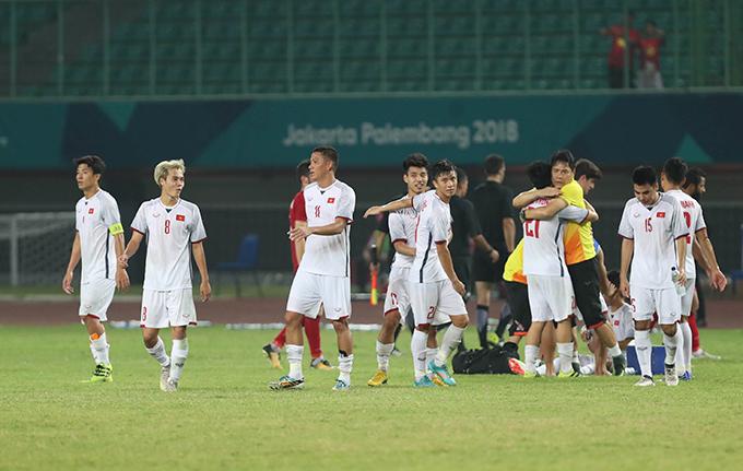 Bàn thắng duy nhất của Văn Toàn ở hiệp phụ thứ hai giúp Việt Nam vượt qua Syria để vào bán kết Asiad 2018. Ảnh: Đức Đồng.
