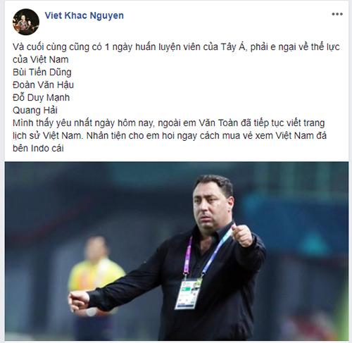 Ca sĩ Khắc Việt gọi tên các cầu thủ mà anh yêu mến của U23 Việt Nam.
