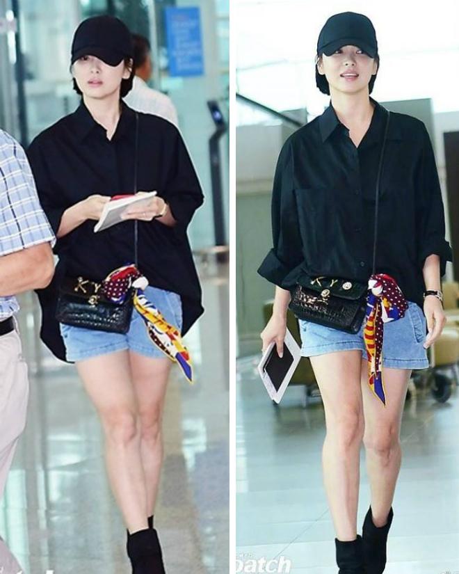 Trái với tin đồn mang thai, Song Hye Kyo rất thon thả, mảnh mai.
