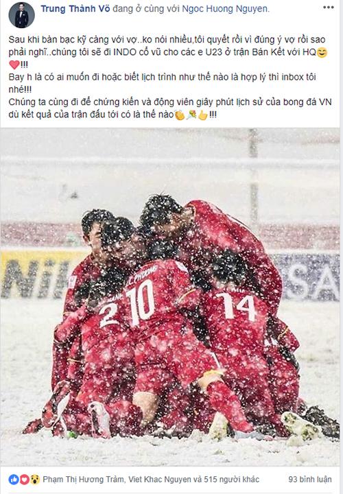 MC, diễn viên hài Thành Trung quyết định sẽ sang tận Indonesia để cỗ vũ cho đội tuyển ở trận bán kết.[Caption]