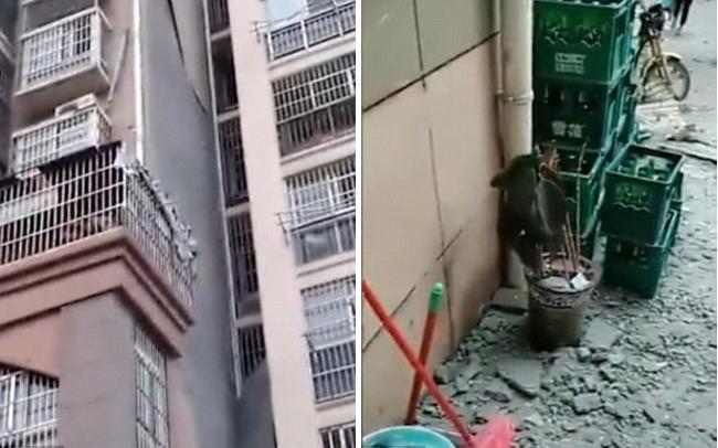 Tường ở khu chung cư thành phố Bạng Phụ, tỉnh An Huy, Trung Quốc bị rơi vỡ vài ngày trước. Ảnh: Shine.