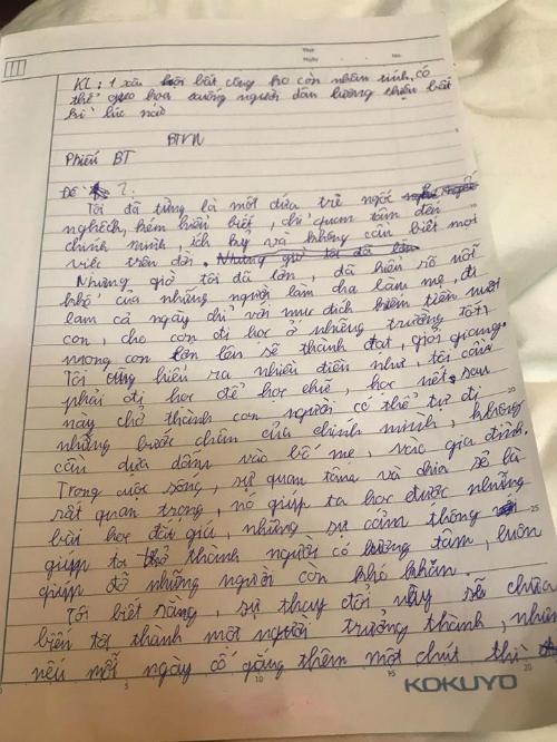 Bài văn của Gia Bảo được mẹ đăng tải trên Facebook làm kỷ niệm.