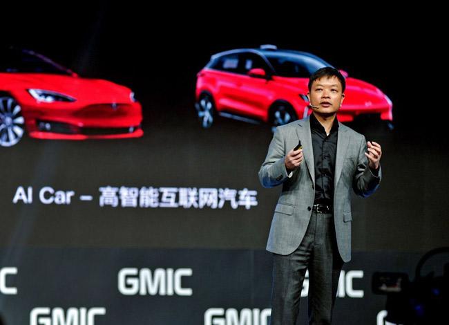 He Xiaopeng, CEO của công ty sản xuất ô tô điện Xpeng tại buổi ra mắt dòng xe G3 tại Thượng Hải năm 2017. Ảnh: Woanews.