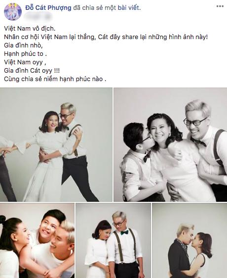 Cát Phượng đăng lại những hình ảnh hạnh phúc giữa chị và Kiều Minh Tuấn cùng con trai cách đây một năm.