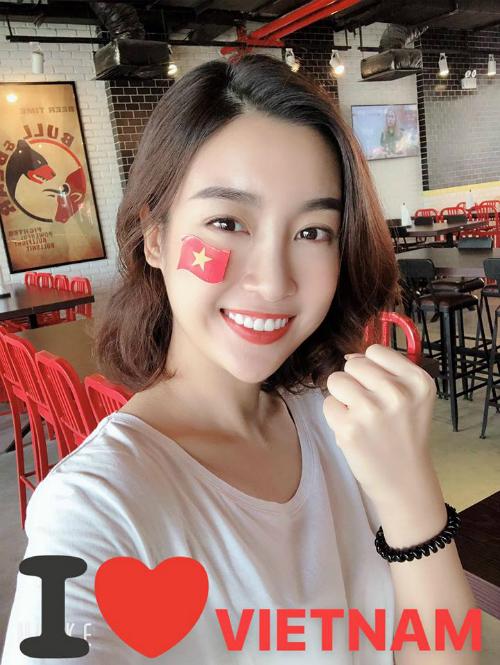 Hoa hậu Đỗ Mỹ Linh động viên Olympic Việt Nam sauthất bại 1-3 trước Hàn Quốc ở bán kết môn bóng đá nam Asiad 2018: Vui lên vui lên!Vẫn mãi yêu nhé Việt Nam.