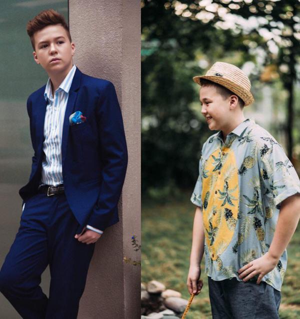 Con trai Ngọc Nga đã lột xác so với 7 tháng trước (ảnh phải). Bộ ảnh do nhà sản xuất Nguyễn Thiện Khiêm, chuyên gia trang điểm Saly và nhà thiết kế Kaculi hỗ trợ thực hiện.