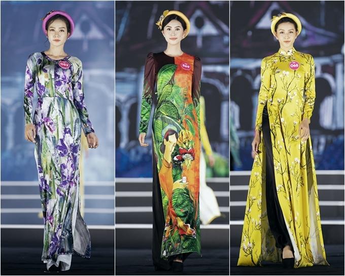 Từ trái qua: Nguyễn Thị Hồng Tuyết, Phạm Ngọc Linh, Nguyễn Thúc Thùy Tiên là những người đẹp tỏa sáng ở đêm thi Thời trang đầu tiên.
