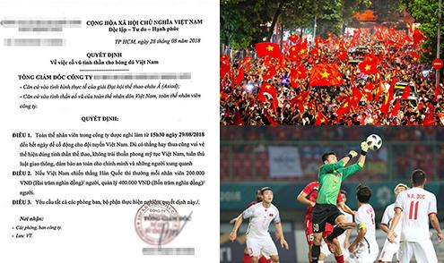 Nhân viên được nghỉ để xem bóng đá, nhận thêm tiền nếu Việt Nam thắng