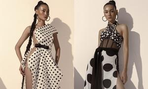 Thùy Trang lăng xê mốt chấm bi với loạt váy cắt xẻ gợi cảm