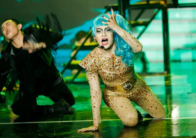 Thí sinh Đỗ Phú Quí được đánh giá giả ngôi sao ca nhạc thế giới Lady Gaga giống đến 95%.