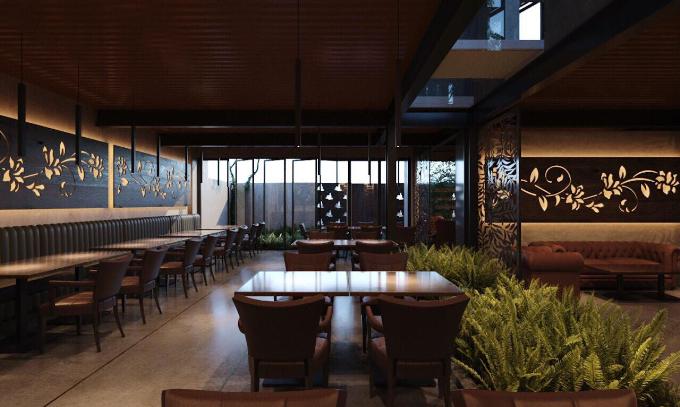 Bên trong không gian của hầm rượu là bàn ghế màu sắc trung tính, dễ chịu. Tất cả được Phượng Chanel chọn lọc kỹ càng.