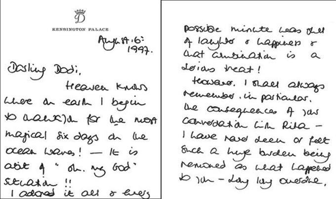 Một bức thư tình của Diana gửi cho Dodi trong thời gian cả hai hẹn hò. Ảnh: Express.
