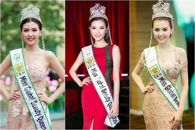 Nữ hoàng Sắc đẹp Toàn cầu 2016 - Ngọc Duyên còn mê đeo cả dải băng bên cạnh vương miện.